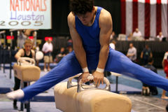 Boy competing on pommel Stock Photography