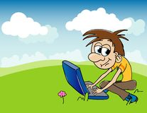 Boy And Computer. Illustration of a boy playing on a computer while sitting in the grass Royalty Free Stock Images