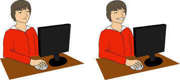 Boy with computer Stock Images