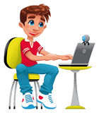 Boy and computer. Funny cartoon and  character Royalty Free Stock Photography
