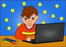 Boy and computer. Boy computer monitor student teenager school kids children vector illustration