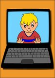 Boy on computer Stock Photos