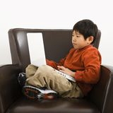 Boy with computer Royalty Free Stock Photo