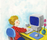 Boy and computer. Acrylic illustration of boy and computer Stock Photos
