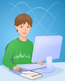Boy with computer. Illustration of a boy working on a computer Stock Images