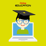 Boy with computer. Online education Stock Photo
