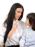 Boy confronts his mother who Stock Photo