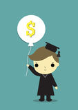 Boy congratulate money. Graduate boy thinking about  now i can make money Stock Photography