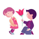 Boy congratulates girl. Card for Valentine`s Day, boy with girl illustration, love and friendship Royalty Free Stock Images