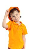 Boy in construction helmet Royalty Free Stock Photo