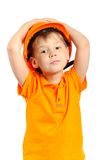 Boy in construction helmet Stock Photos