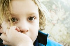 Boy contemplating Quantum Physics Royalty Free Stock Photo