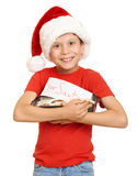 Boy with cookies for santa, winter holiday christmas concept Royalty Free Stock Photos