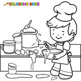 Boy cooking and making a mess coloring page Royalty Free Stock Image