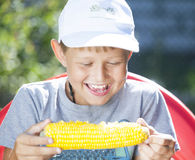 Boy with corn stock image