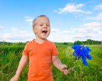 Boy with cornflowers Royalty Free Stock Photos