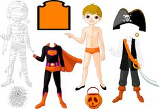 Boy with costumes for Halloween Party vector illustration