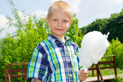 Boy with cotton candy Stock Photo