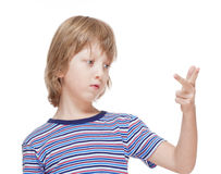 Boy Counting on Fingers of his Hand Royalty Free Stock Photos