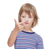 Boy Counting on Fingers of his Hand Stock Photography
