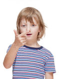 Boy Counting on Fingers of his Hand Stock Images