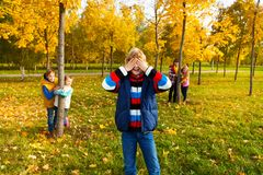Boy counting and friends finding Royalty Free Stock Image