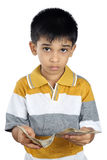 Boy Counting the Money with Expression. Little Boy Counting the Money with Expression Stock Image