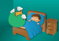 Boy counting sheep in bed Stock Photography