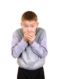 Boy cover the Mouth Stock Photo