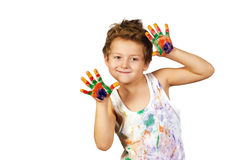 Boy covered in paint , isolated on white background. Baby boy having fun playing , stained with paint stock photography