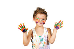 Boy covered in paint , isolated on white background. Baby boy having fun playing , stained with paint royalty free stock photos