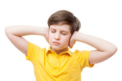 A boy is covering his ears by hands Royalty Free Stock Photo