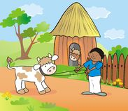 Boy and cow Stock Images