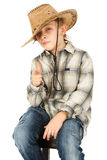 Boy in cowboy hat Stock Photo
