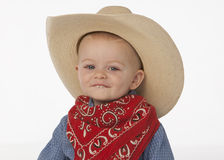 Boy with cowboy hat stock images