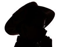 Boy in cowboy hat. Side portrait silhouette of boy in wide brimmed or cowboy hat, isolated on white background stock photography