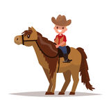 Boy cowboy on horseback. Vector illustration. Of a flat design Stock Photos