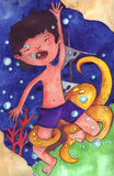 The boy crashed into the sea with octopus royalty free illustration