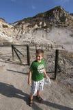 Boy in crater of Solfatara Royalty Free Stock Image