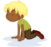 A Boy Crawling on floor. Illustration of A Boy Crawling on floor on white background Royalty Free Stock Photos