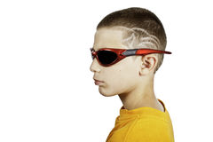 Boy with a crazy hair cut royalty free stock photography