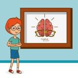 Boy with creative brain Stock Photography