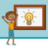 Boy with creative idea bulb Stock Photo