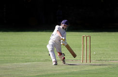 Boy cricket cover drive Stock Photography