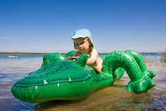 Boy with crocodile Royalty Free Stock Photography