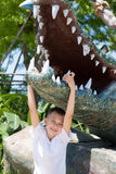 Boy and crocodile sculpture Royalty Free Stock Photos