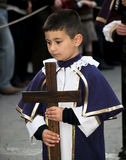 Boy with Cross Stock Photo