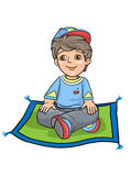 Boy Cross Legged Sitting Exam Stock Photography