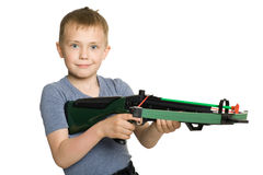 Boy with the crossbow Royalty Free Stock Photos
