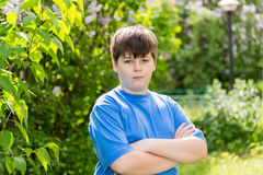 The boy crossed his arms in summer park Royalty Free Stock Photos